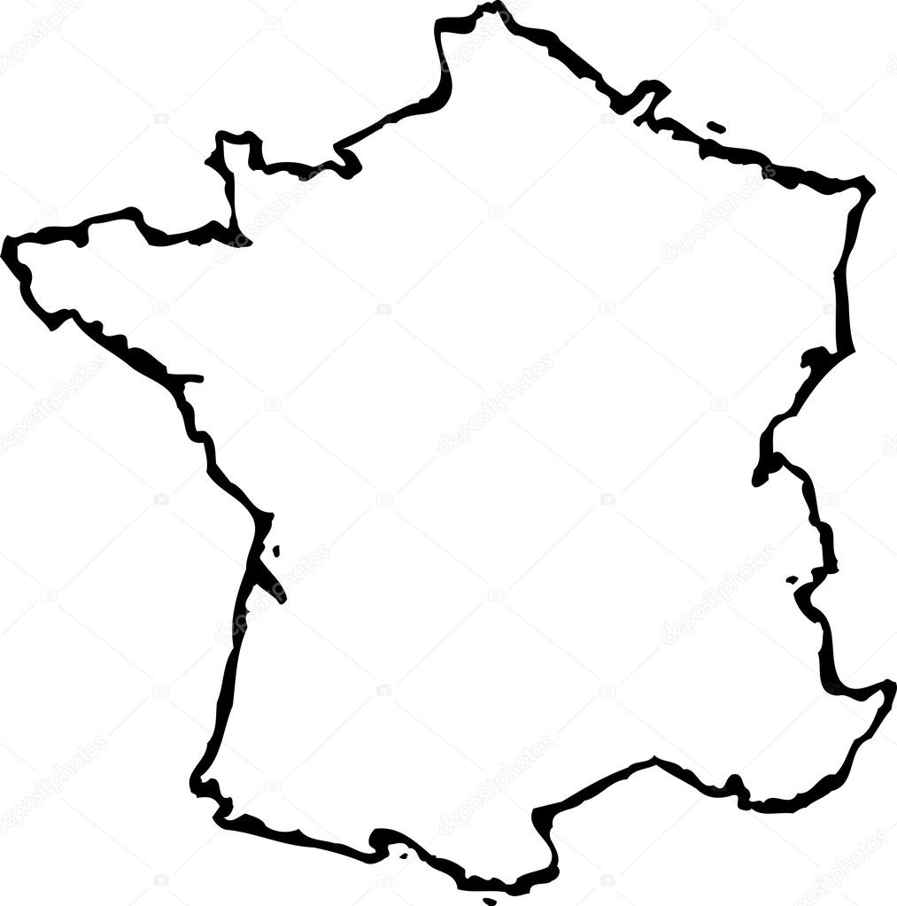 1013x1023 Woodcut Illustration Of Map Of France Stock Vector Ronjoe
