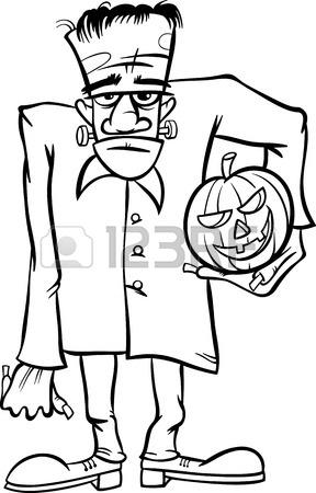 288x450 Cartoon Frankenstein Head Line Art Royalty Free Cliparts Vectors