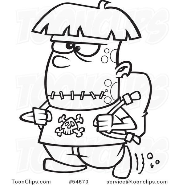 581x600 Cartoon Black And White Frankenstein Kid Walking To School