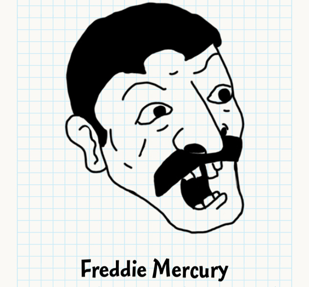 632x586 Freddie Mercury Badly Drawn Faces Answers, Walkthrough, Cheats
