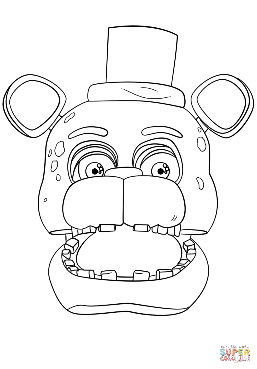824x1186 Fnaf Freddy Portrait Coloring Page Free Printable Pages