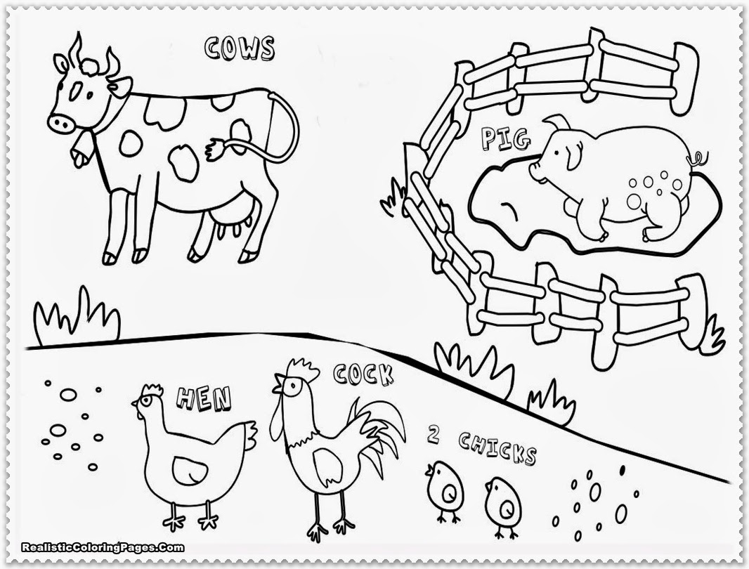 1066x810 Farm Animals Coloring Pages For Kids Printable Colouring Amusing