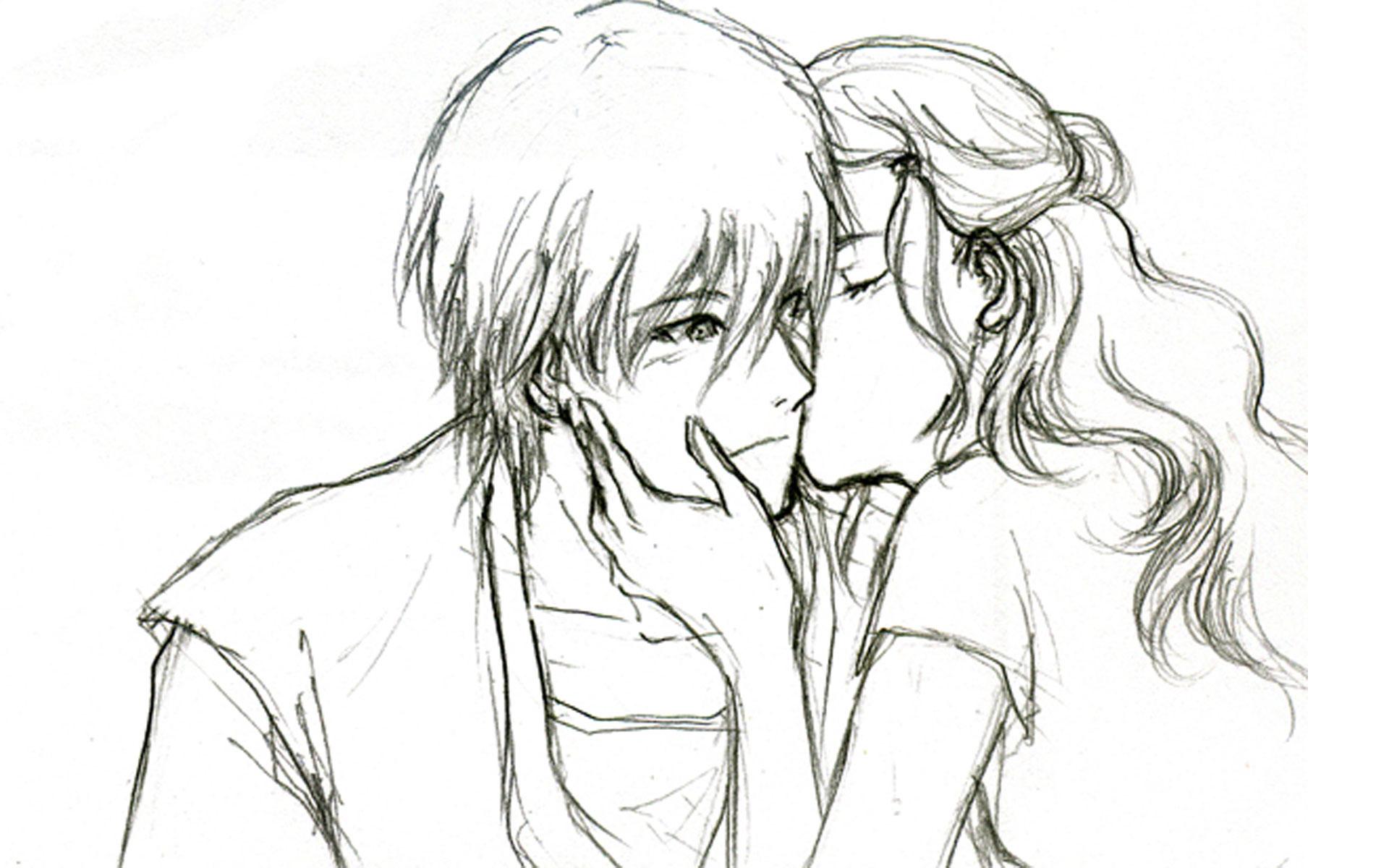1920x1200 Cute Anime Couples Drawings Cartoon Love Couple To Draw Free
