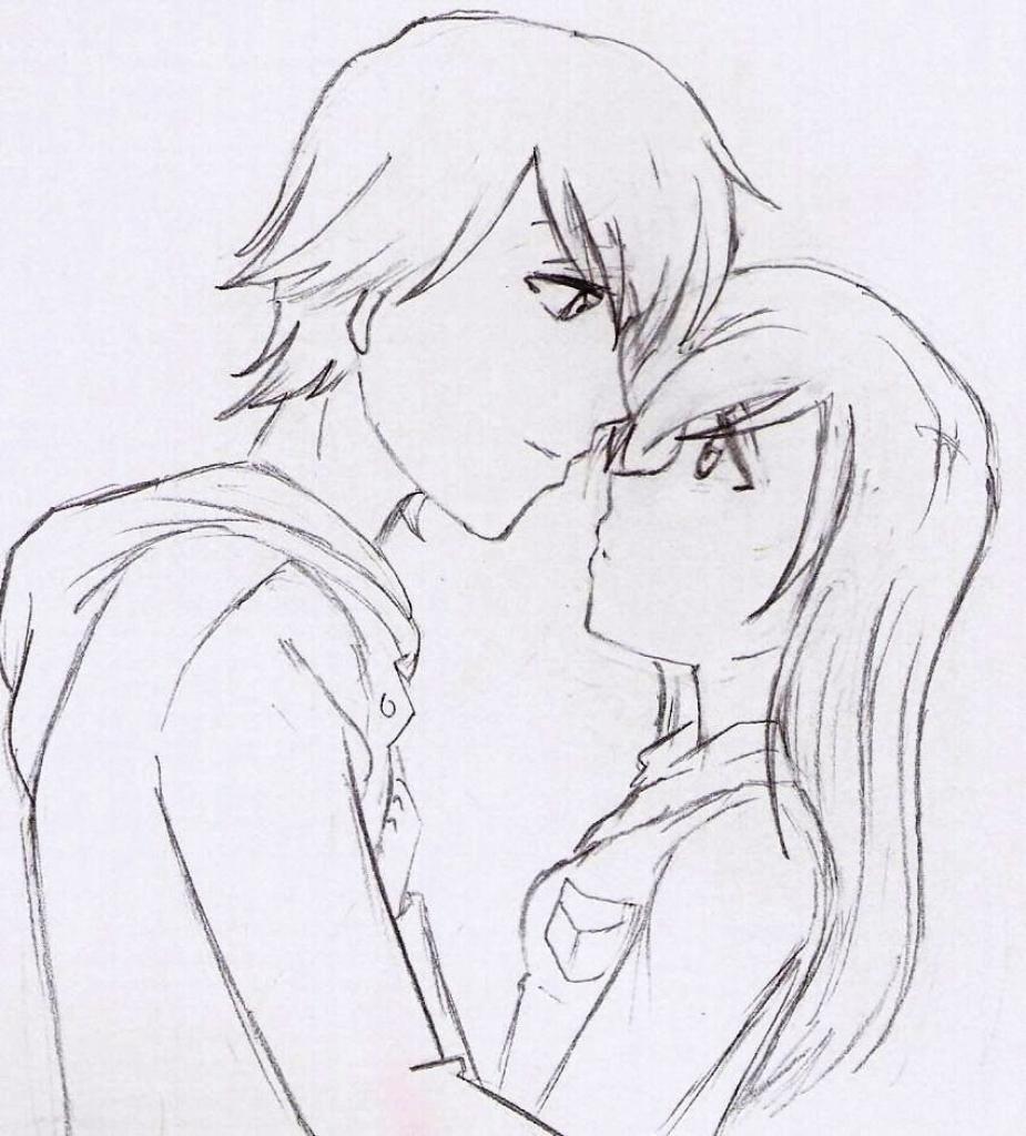 925x1024 Cute Couple Anime Drawing Easy Cartoon Love Couple To Draw Free