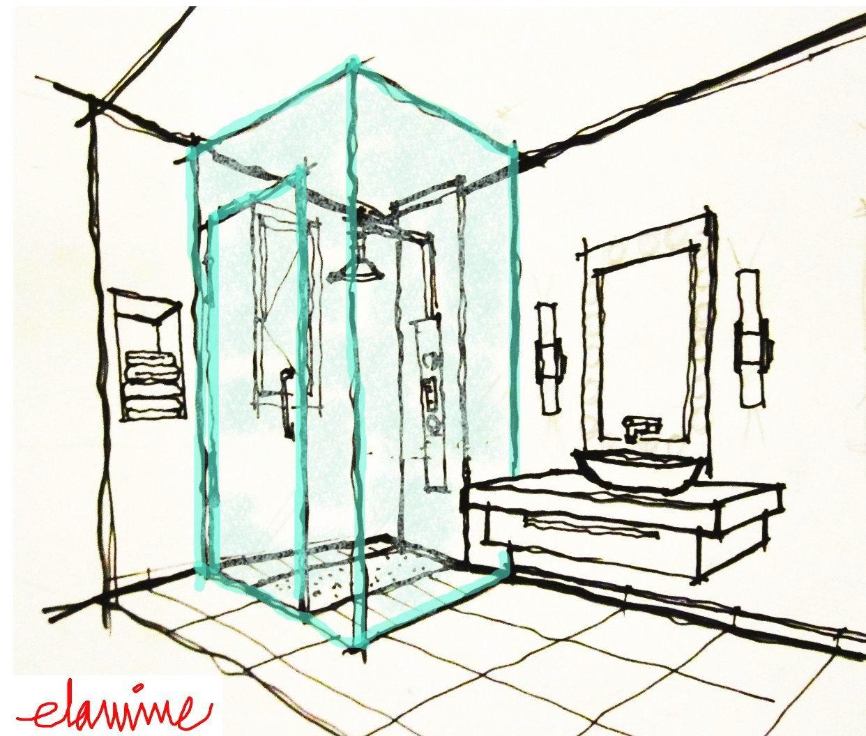 1242x1056 Beautiful Bathroom Sketch Featuring Free Hand Of Modern