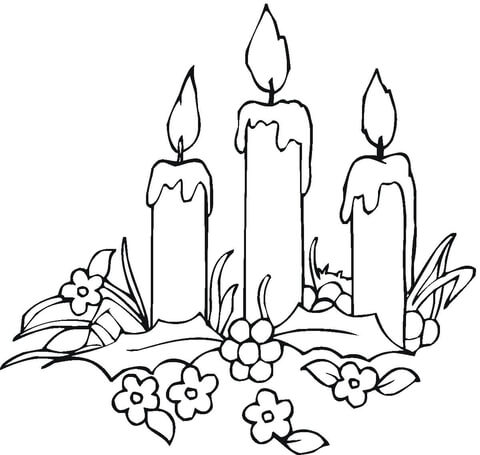 480x455 Candles With Flowers Coloring Page Free Printable Coloring Pages