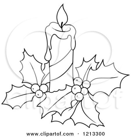 450x470 Clipart Of A Black And White Christmas Candle And Holly