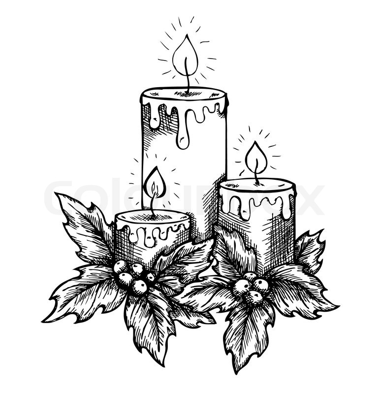 766x800 Graphic Drawing Candles And Holly Berries And Leaves. Sketch