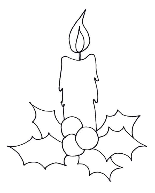 600x745 How To Draw Christmas Candle Coloring Pages