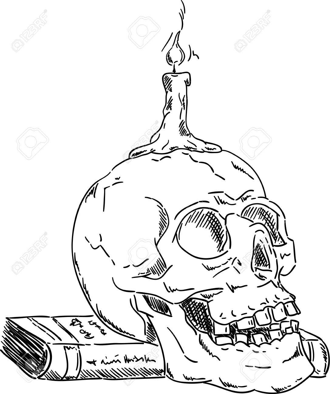 1087x1300 Skull On Book With Candle ,isolated On Background , Hand Draw