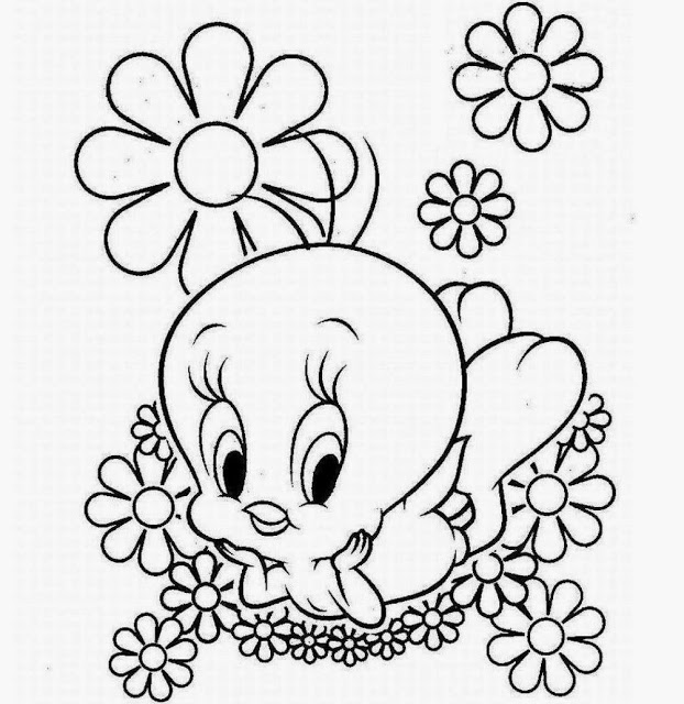 622x640 Colour Drawing Free Wallpaper Tweety Bird Coloring Cartoon