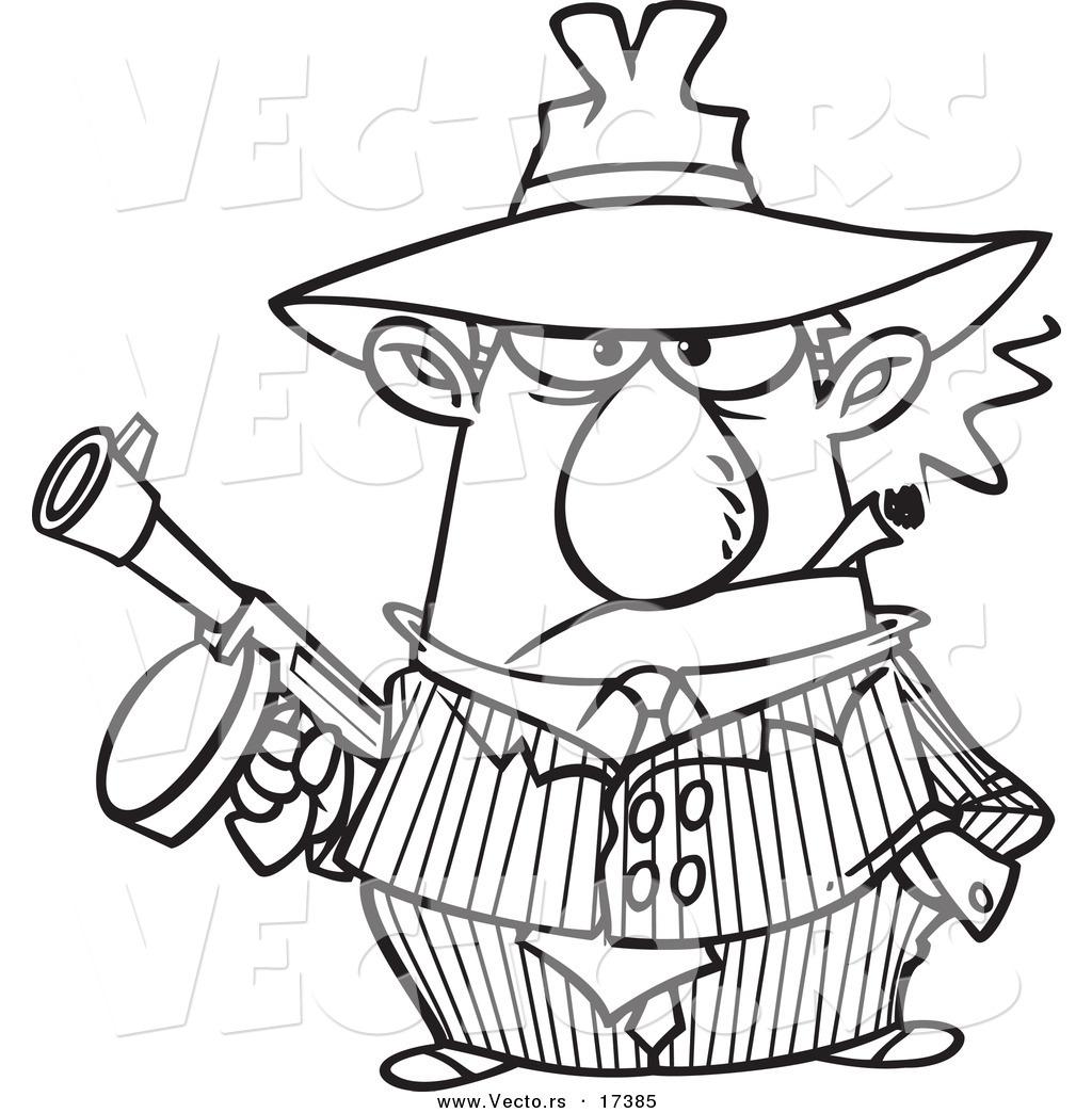1024x1044 Vector Of A Cartoon Gangster Holding A Gun And Smoking A Cigar