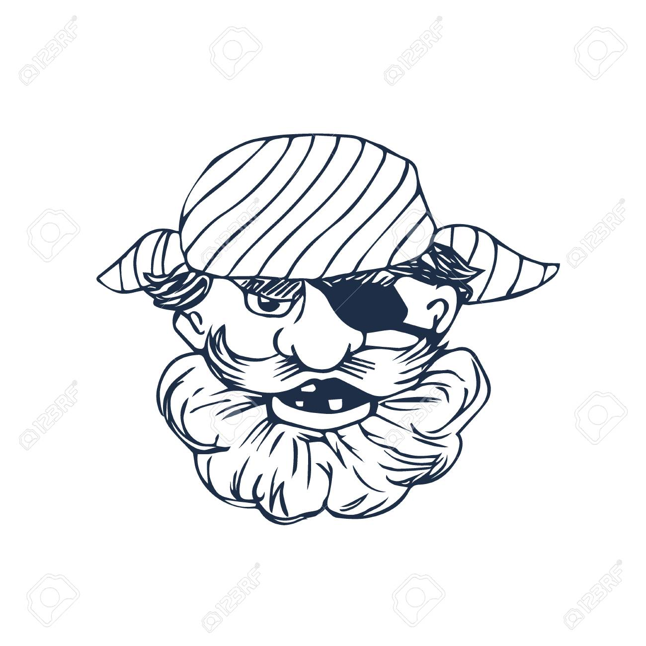 1300x1300 Funny Bearded Pirate With Eye Patch. Cartoon Character. Vector
