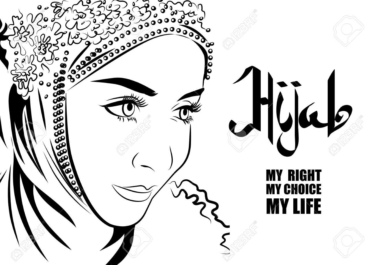 1300x919 Muslim Female In Hijab Hand Drawing Style. Arabic Calligraphy