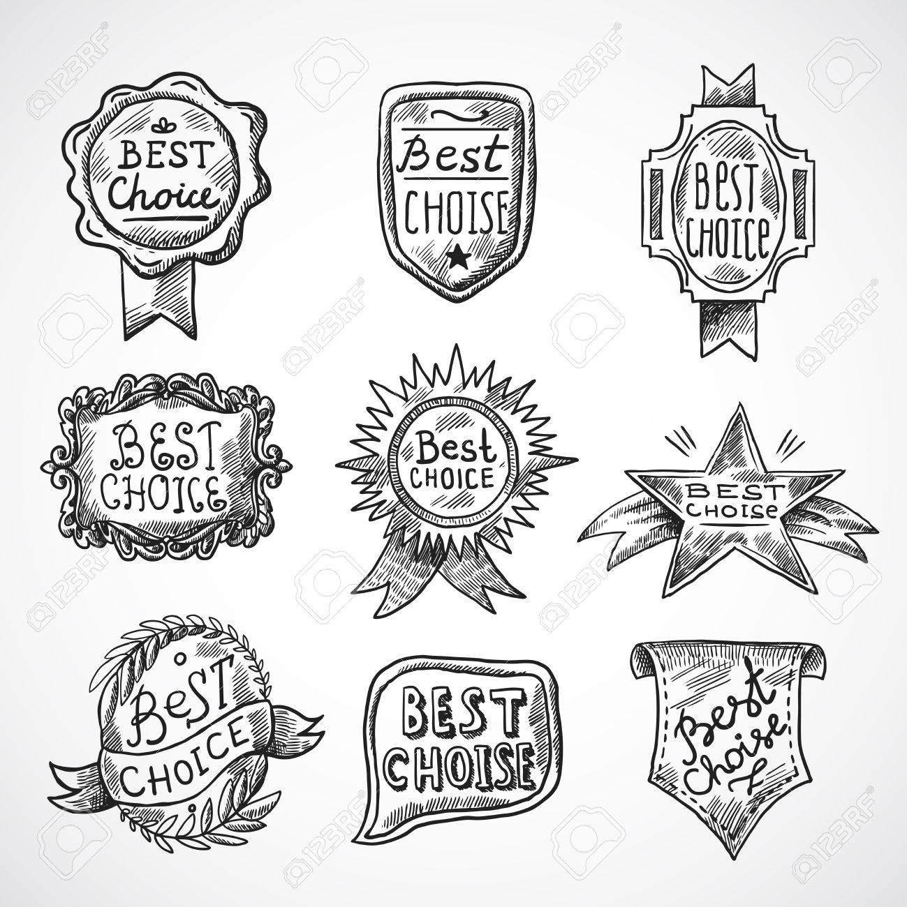 1299x1300 Best Choice Advertising And Promotion Badge Black Sketch Set