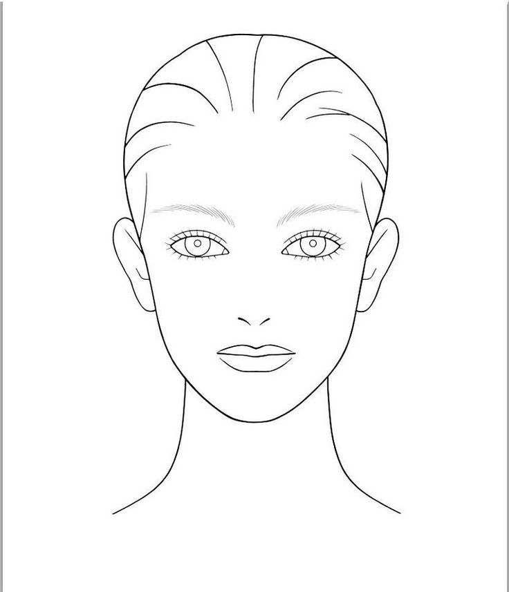 736x857 Blank Face Template For Hair And Makeup Foundation Of Your Choice