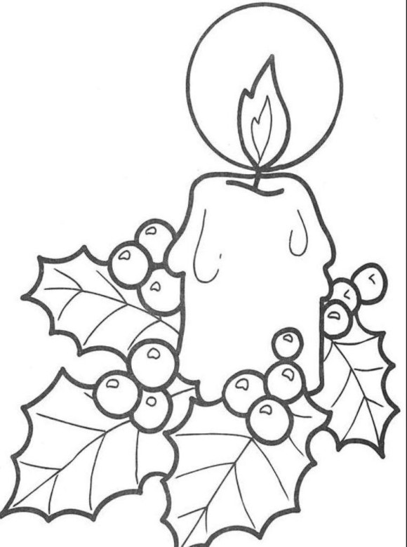580x779 simple free coloring pages for christmas candle printable