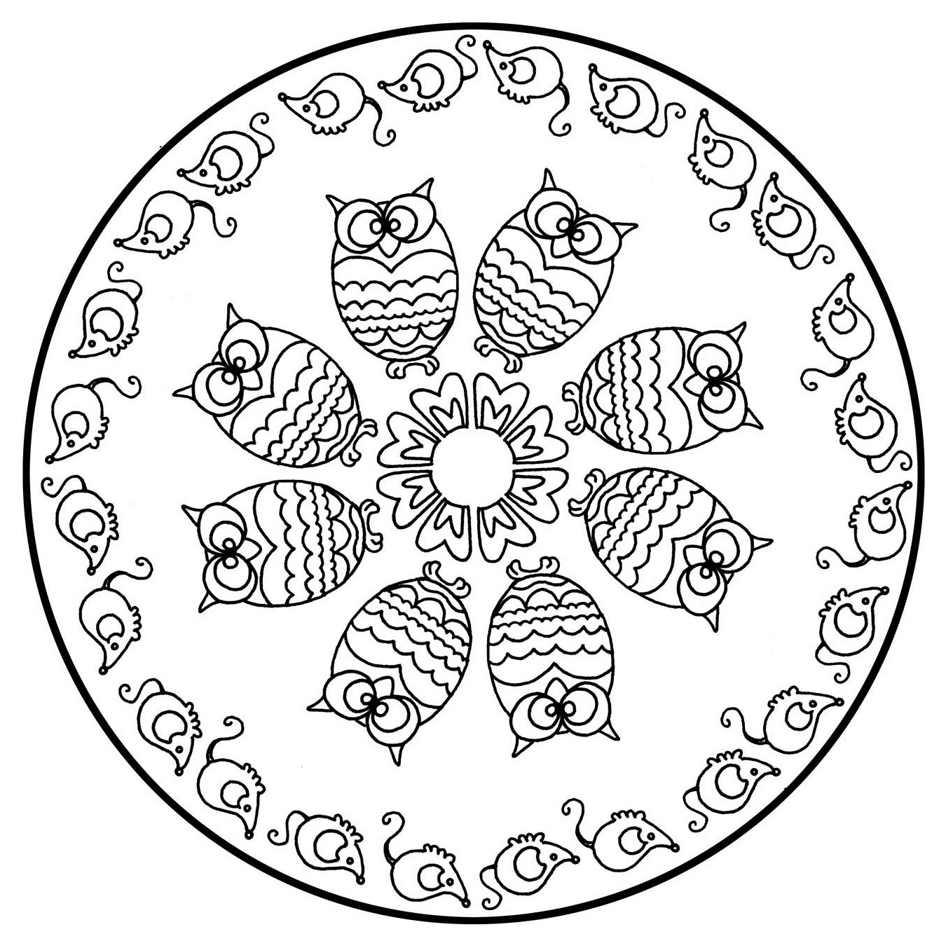 1350x1353 Free Mandalas Page To Color Animals Free Cute