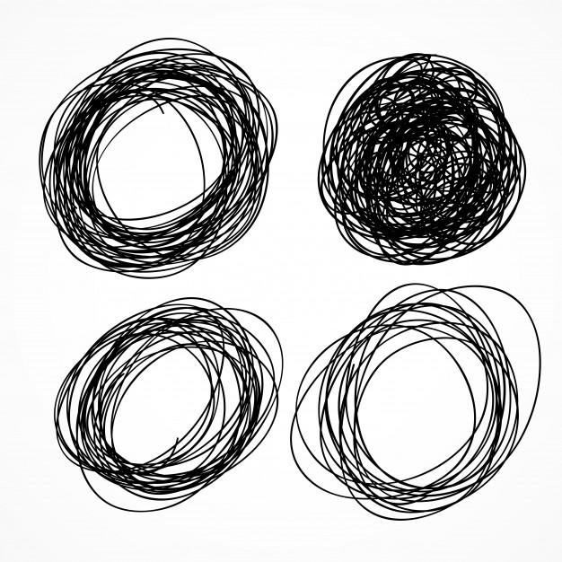 626x626 Hand Drawn Circle Scribble Set Vector Free Download