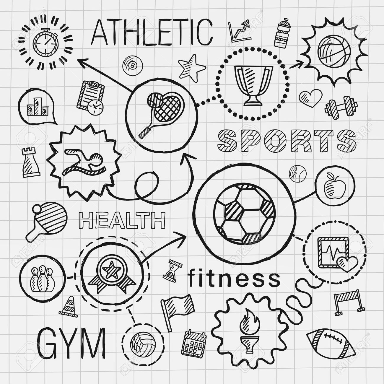 1300x1300 Sport Hand Draw Integrated Icons Set. Vector Sketch Infographic