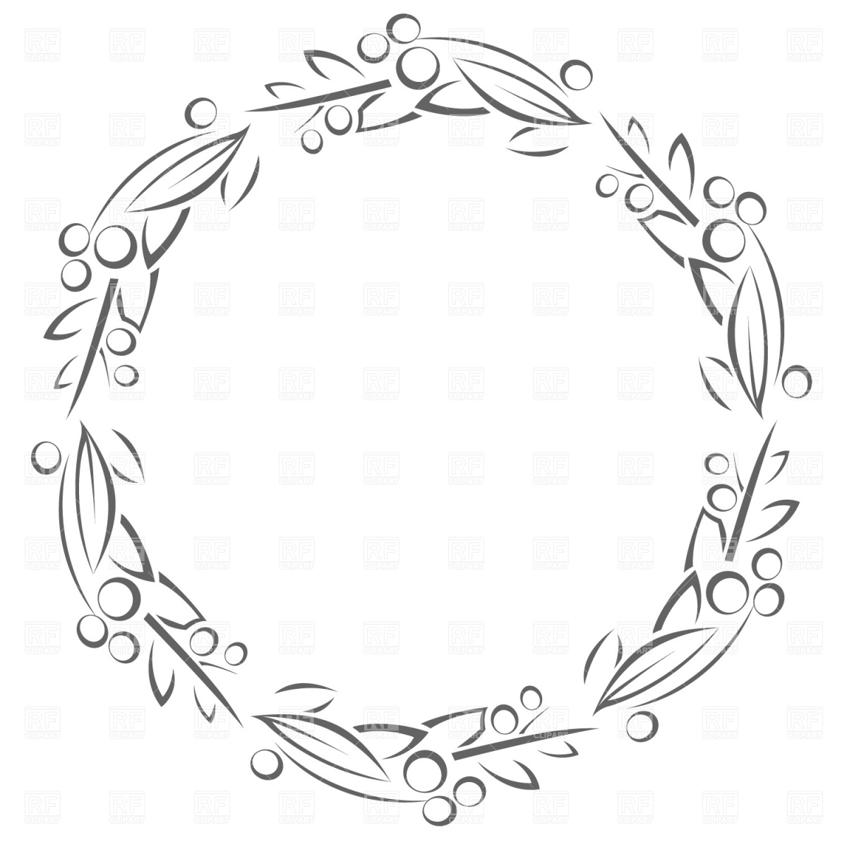 1200x1200 Circle Frame With Leaves Royalty Free Vector Clip Art Image