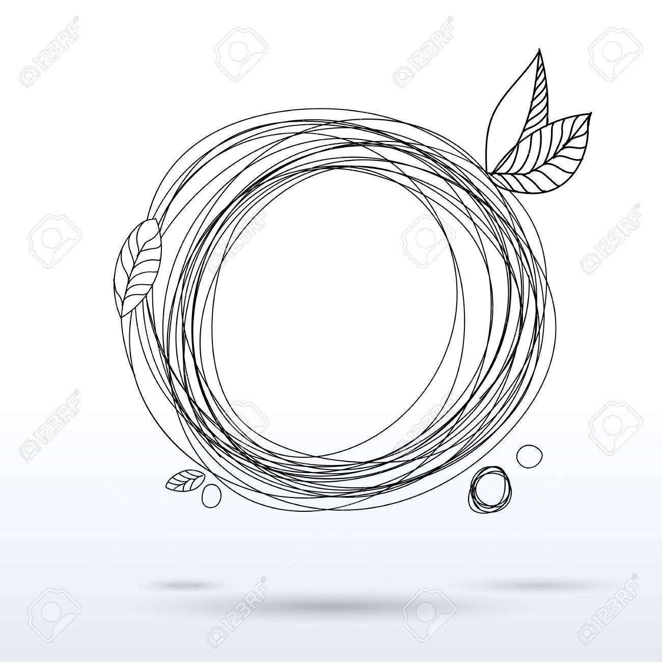 1300x1300 Doodle Style En Drawing Circle Frame. Hand Drawing Decorative