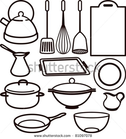426x470 Kitchen Tools Drawing Cooking Utensils Drawing Clipart Panda Free