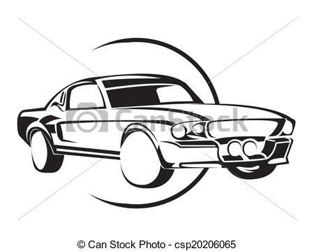 450x359 Old Muscle Car Clip Art Vector
