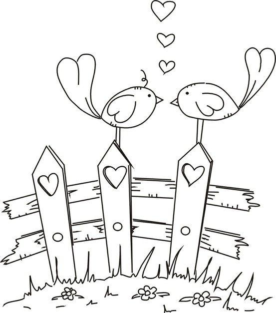 553x627 Free Digital Stamp Of Love Birds By Tinycarmen Wool Applique