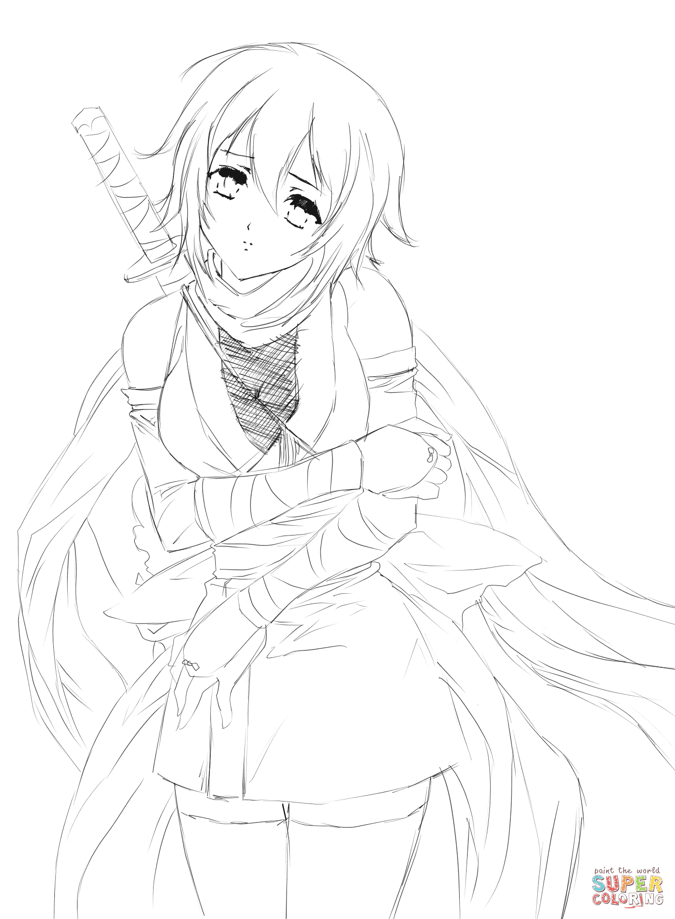 1367x1862 Hurt Anime Girl By Gabriela Gogonea Coloring Page Free Printable