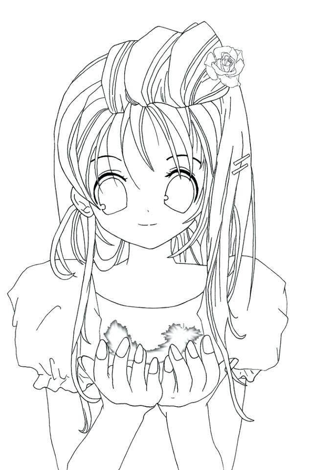 640x960 New Free Anime Coloring Pages Print And Cute Girl Drawing