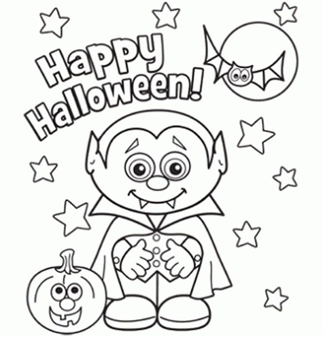 664x720 Coloring Pages For Halloween Free To Tiny Draw Page Little Vampire