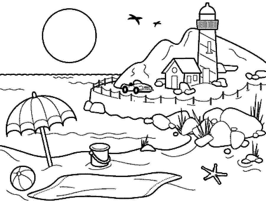 900x688 Coloring Pages Summer Season Pictures For Kids Drawing Free