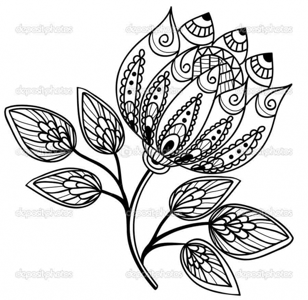 1024x998 How To Draw A Beautiful Flower Design Drawing Flower Designs Free