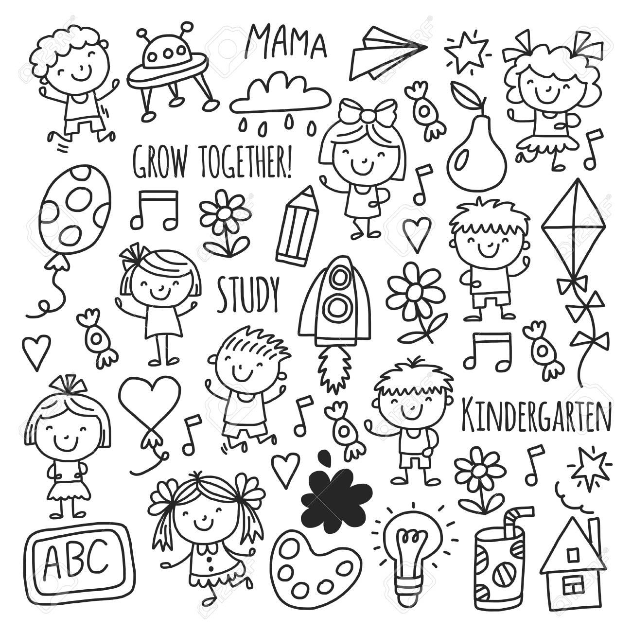 1300x1300 Kids Drawing Kindergarten School Happy Children Play Illustration