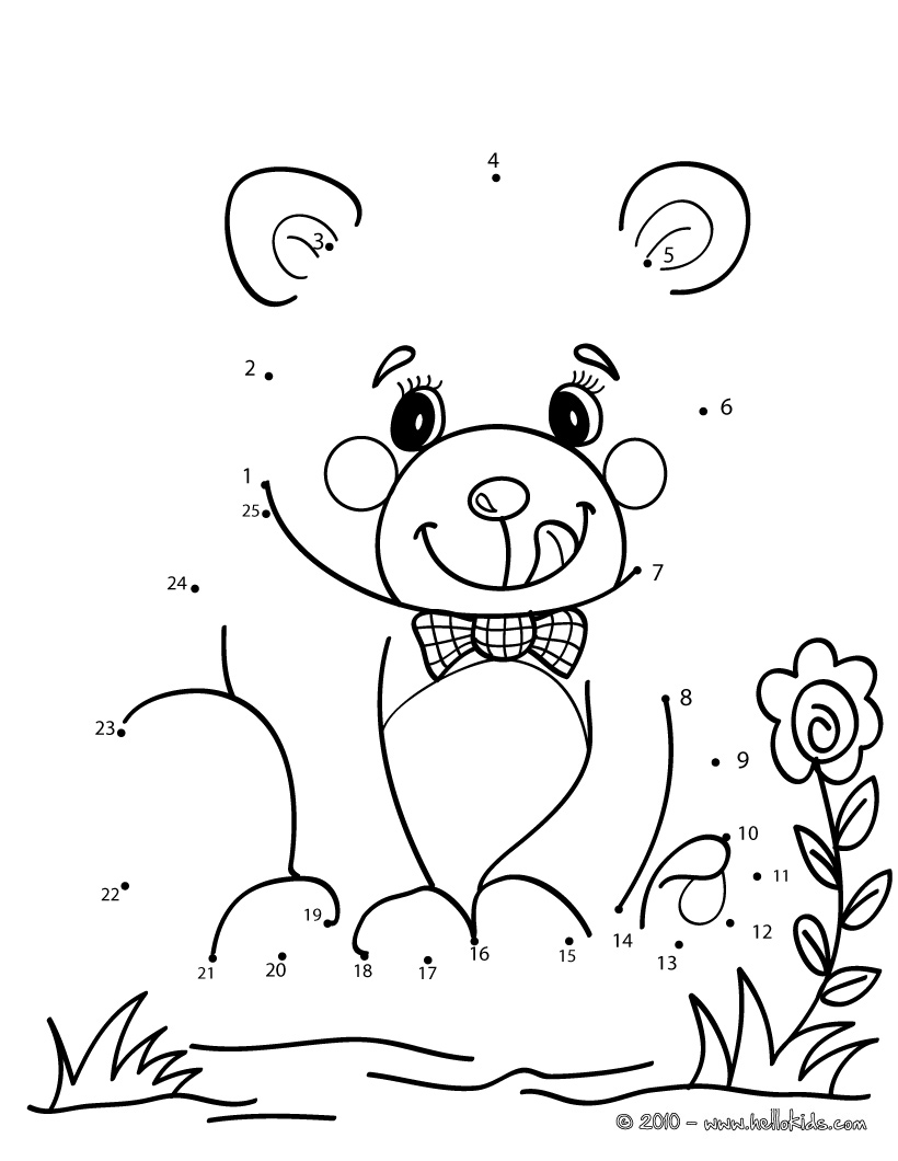 820x1060 Teddy Bear Dot To Dot Game Printable Connect The Dots Game