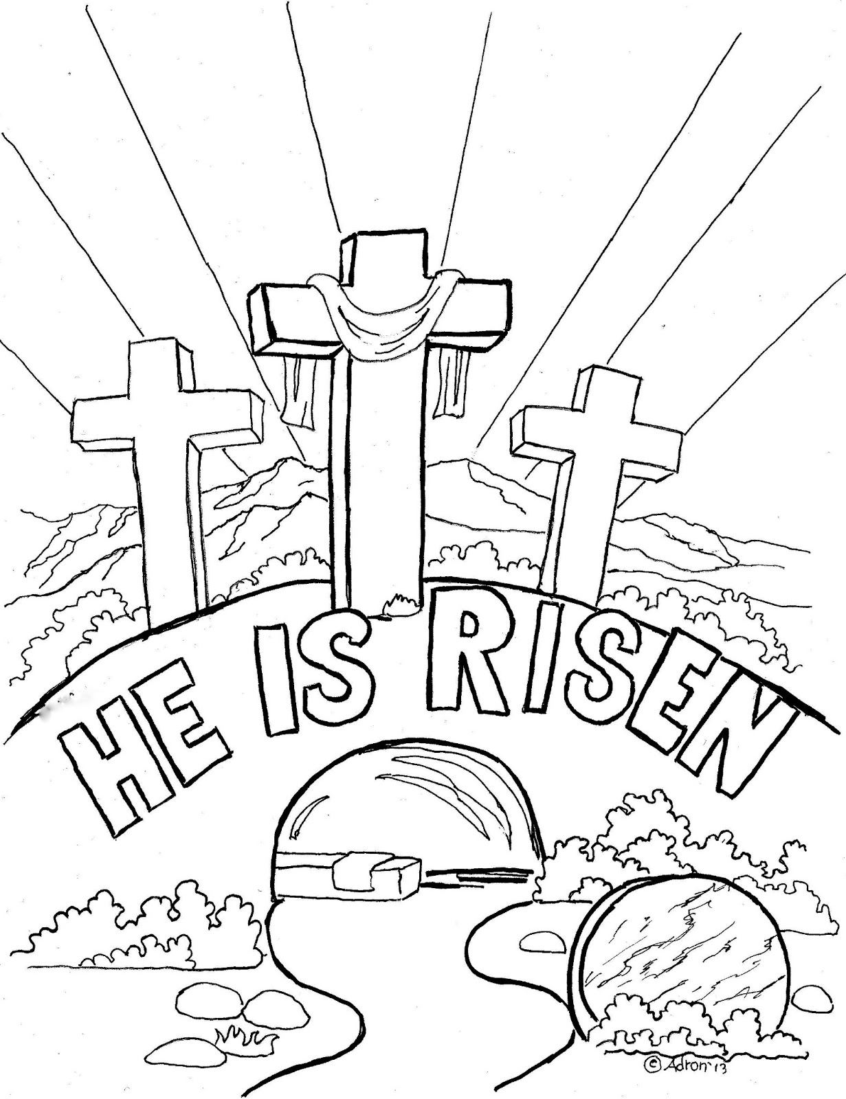 1231x1600 Easter Coloring Page For Kids, He Is Risen The Blog Has