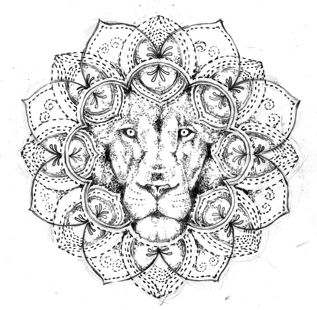 1024x1000 Lion Mandala, Tattoo Design Free By