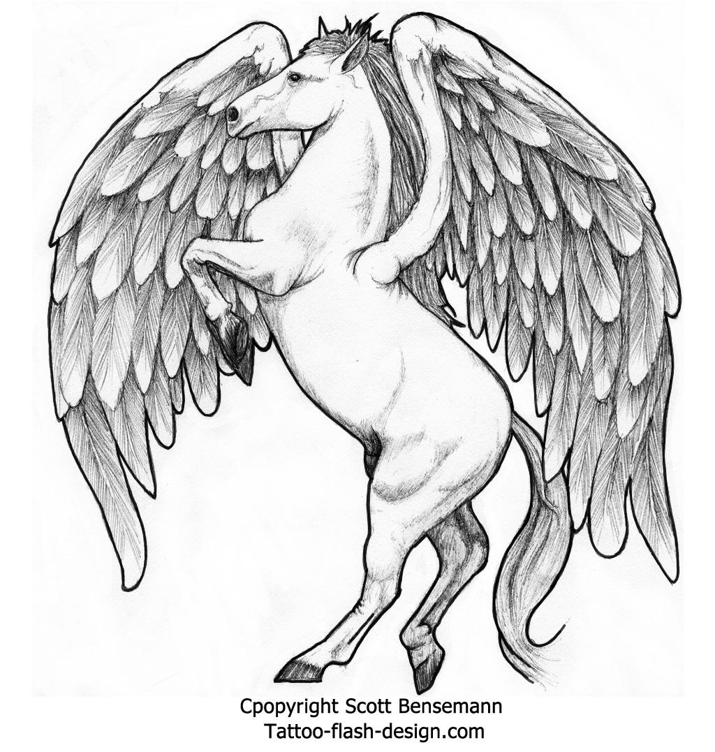 1024x1077 Pegasus Winged Horse Free Tattoo Flash Design