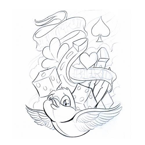 500x500 Bird Symbol Gallery Symbols Lucky Bird2 Tattoo Free Download