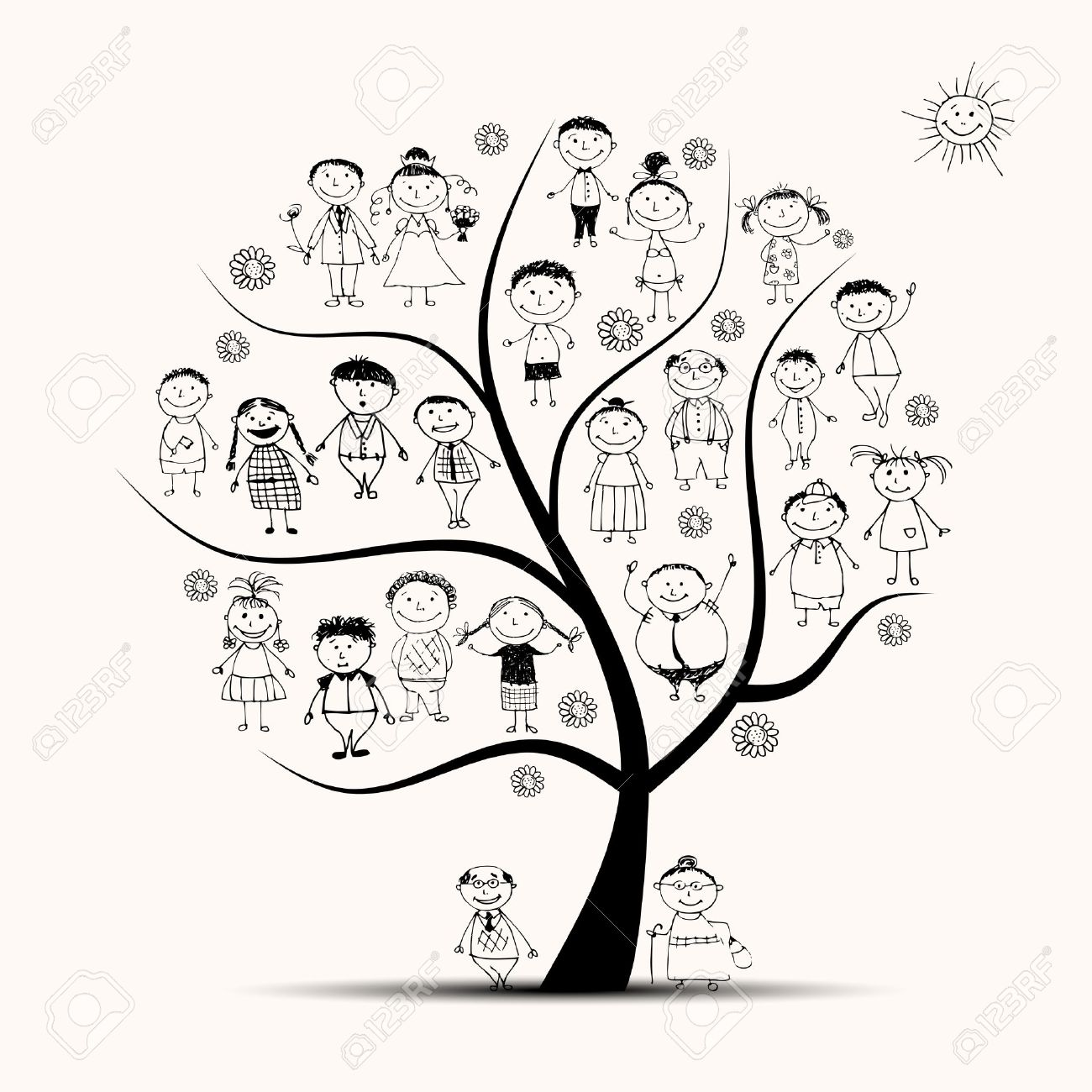 1300x1300 Family Tree, Relatives, People Sketch Royalty Free Cliparts