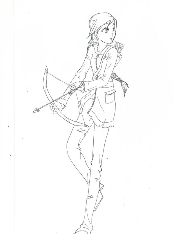 Coloring Pages Free Little Chicken General Page 600x807 Katniss Hunger Games By Tomorokoshiko On DeviantArt