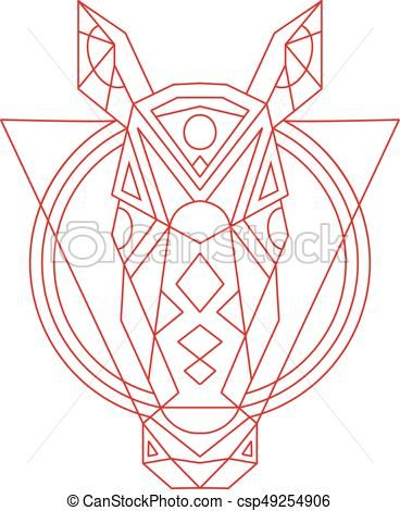 368x470 Geometric Horse Head Line Drawing Vector
