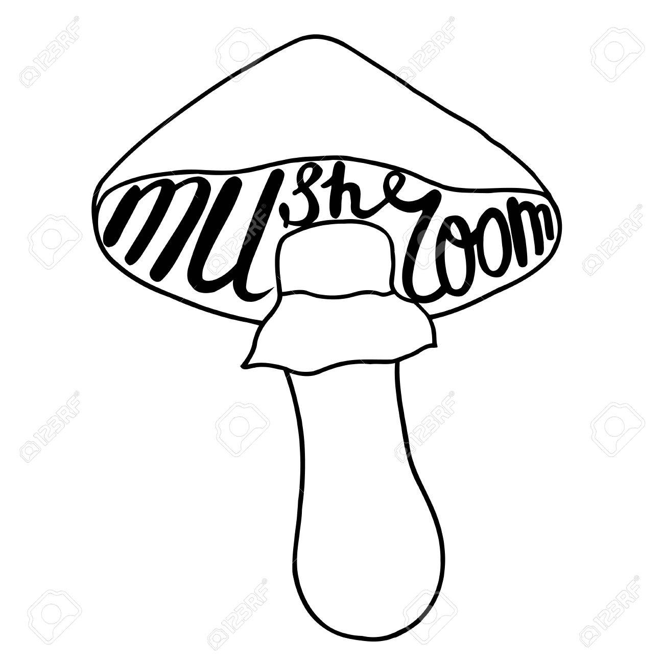 1300x1300 Mushroom Graphic Drawing Trace With Art Lettering. Vector