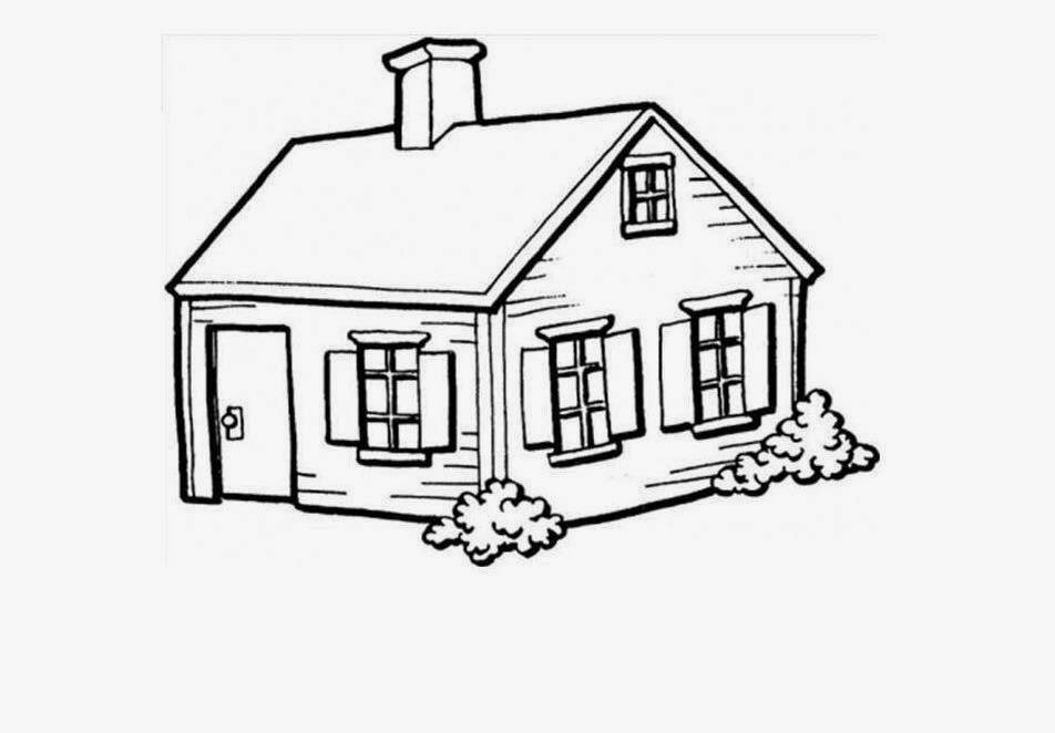 952x662 colour drawing free wallpaper small house for kid coloring - Free House Drawing