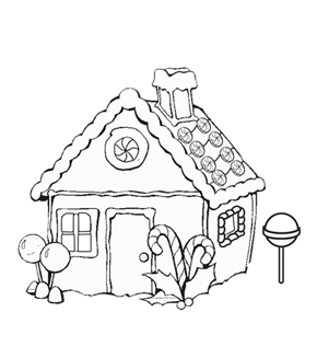 290x327 Free Gingerbread House Coloring Pages