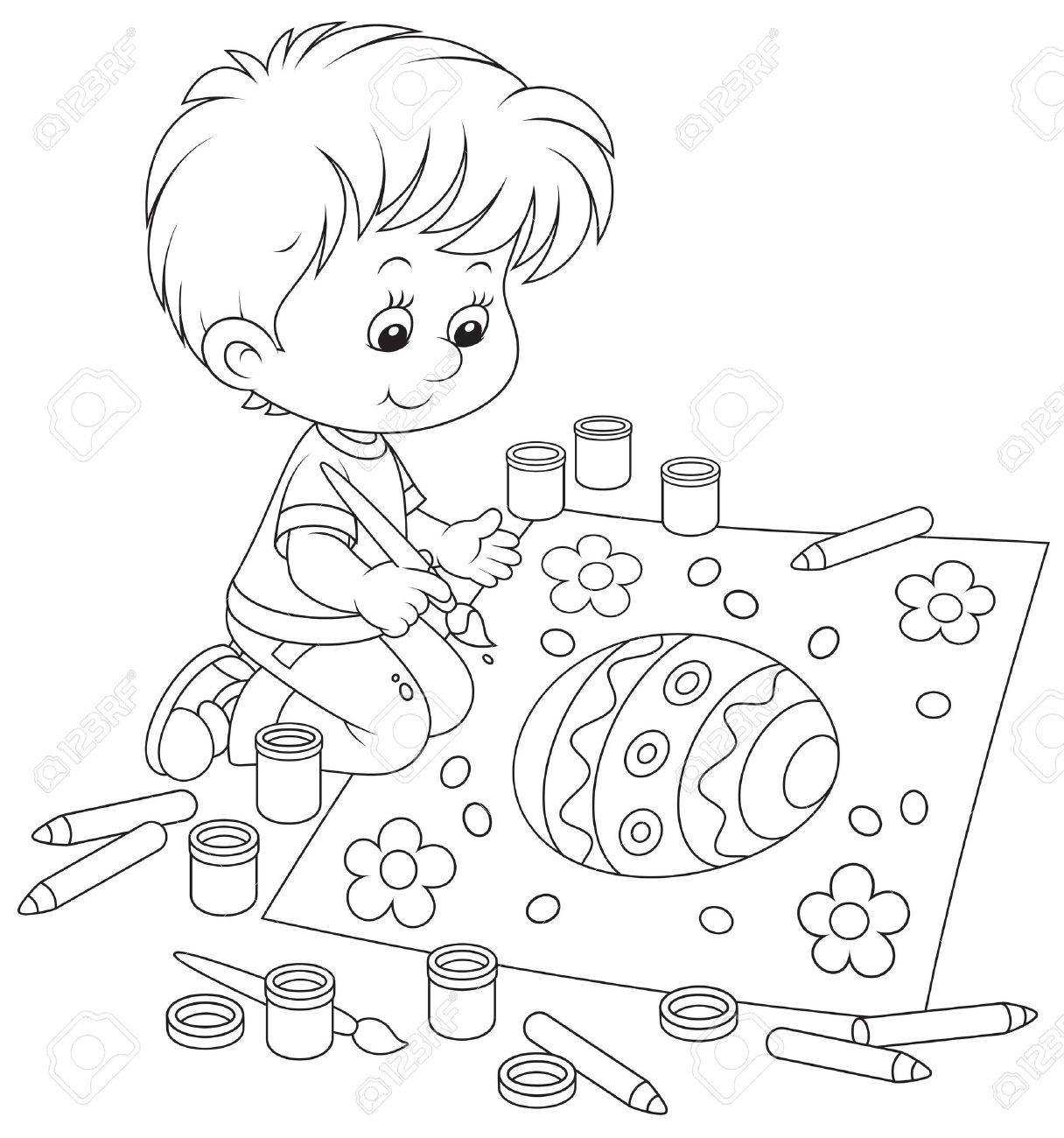 1216x1300 Kid Drawing An Easter Egg Royalty Free Cliparts, Vectors,