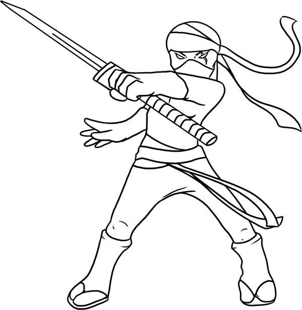 600x616 Kid Drawing Of A Ninja Coloring Page
