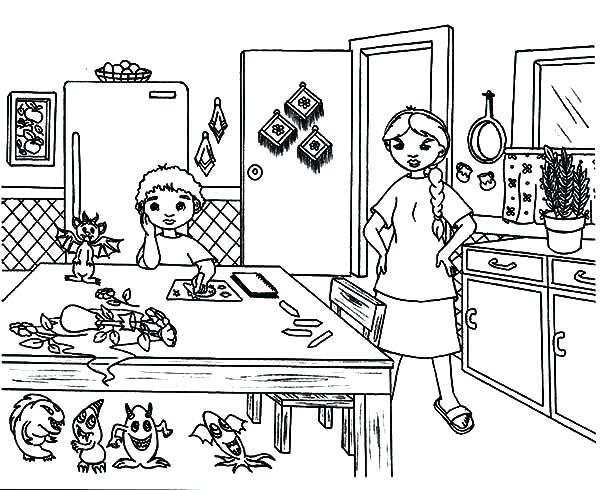 600x490 Kitchen Coloring Page Kitchen Coloring Pages Coloring Page Kitchen
