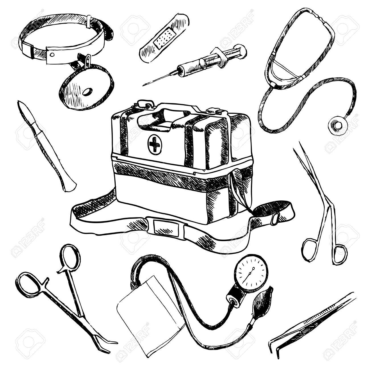 1299x1300 Doctor Medical Case Laboratory Accessories Sketch Icons Collection